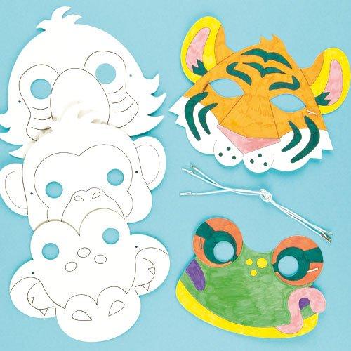 Masken zum Basteln und Ausmalen - Tiere des Regenwaldes - für Kinder ideal zum Kindergeburtstag und Karneval - 6 (Kinder Maske Gorilla)