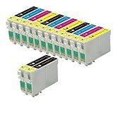 14 printer ink cartridges (3 sets of 4 + 2 black) for an Epson Stylus SX125, SX130, S22, SX420W, SX425W, SX445W, BX305F, BX305FW, SX230, SX235W, SX445W, SX435W, SX430W, SX440W, 5x T1281, 3x T1282, 3x T1283, 3x T1284