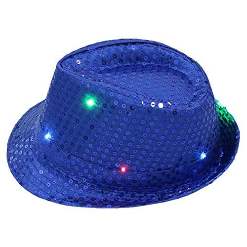 Pop Tänzer Kostüm - AZXAZ LED Jazzmütze Light Up Party Hut Cap für Hip-Pop Dance Unisex Paillettenhut Batteriebetriebenes Blinken Durchführen von Hüten für Disco Party Geburtstag (Blau)