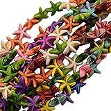 NBEADS 20 hebras de Piedras Preciosas de Estrella de mar, Turquesa sintética, Colores Mezclados, 14 x 14 x 5 mm, Aproximadamente 41 Piezas/hebra