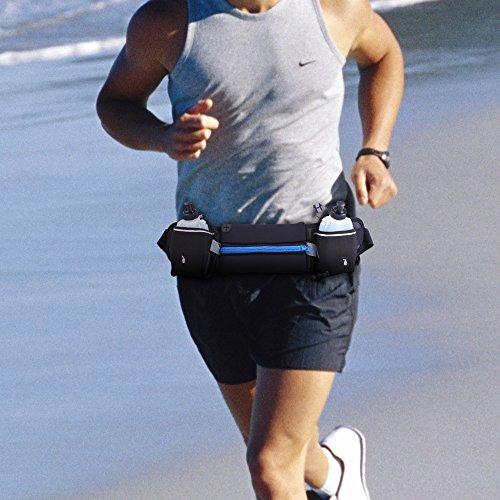Chinatmax sport cintura da corsa, fitness all' aperto, divertente confezione borsa con 2porta bottiglia, impermeabile per escursionismo fitness per uomo/donna, resistente all' acqua regolabile corsa  Dark Blue