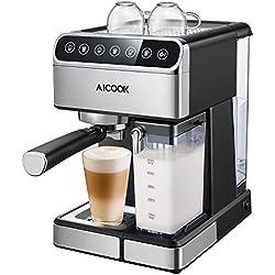 Aicook Touchscreen Kaffeemaschine, 15 Bar Espressomaschine mit Touch-Digital-Bildschirm, Espresso-Siebträgermaschine, Milchaufschäumer für Cappuccino und Latte, 1.8L Tank und Milchbehälter, Edelstahl