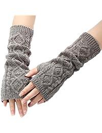 Leisial™ Invierno Otoño Mujer Guantes Sin Dedos Tejido de Punto Largo Brazo Suave Cálido Calentadores Guantes