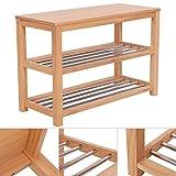 Casart Zapatero organizador con 2, 3 o 5 baldas con listones de madera, estante, madera, Madera, 3 niveles