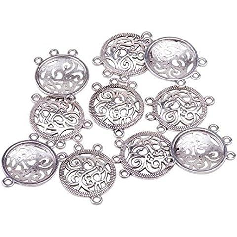 Pandahall Enlaces estilo tibetano, componentes de araña de plata antigua para Dangle pendiente de hacer, sin plomo y el cadmio y niquel libres, plano y