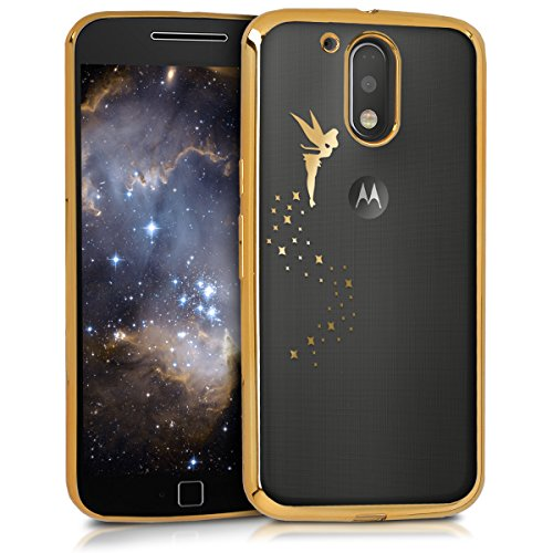 kwmobile Funda para Motorola Moto G4 / Moto G4 Plus - Case de sílicona TPU - Cover protector trasero claro Diseño Hada oro transparente