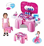 #2: TanMan Little Princess' Make up Kit Play Set Including Working Hair Dryer, Nail Paints, Comb, Lip Sticks, Ring, and a Stool for Storing & Sitting