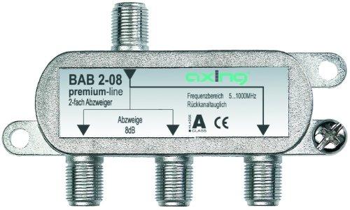 Axing BAB 2-08 Derivatore antenna TV 2 Vie, 8 dB,
