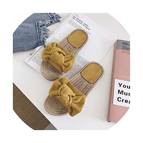 Slippers Women Summer Sandals Slipper Indoor Outdoor Linen Flip-Flops Beach Shoes Floral Flat Sandals,Yellow,41