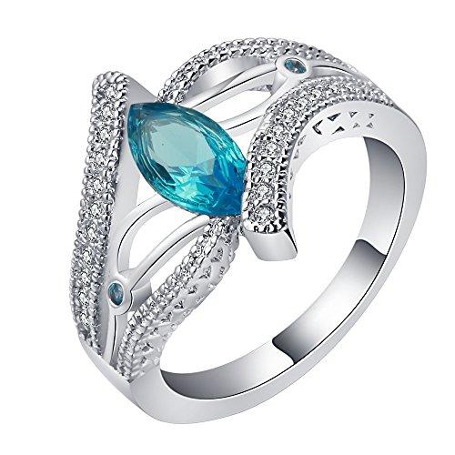 Preisvergleich Produktbild Smile YKK Damen Plated 925 Sterling Silver Geschenk Ringe Fingerring Freundschaftsringe Partnerringe Mit Blau Zirkonia 6
