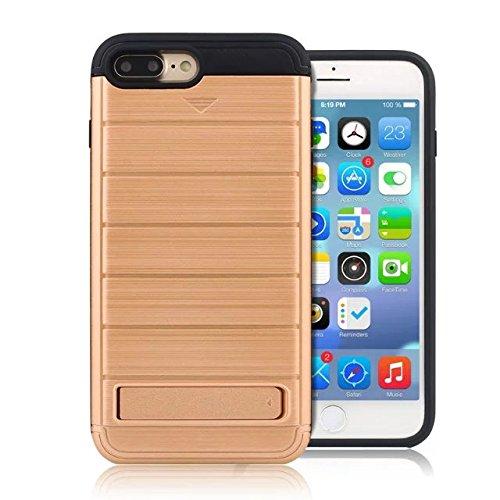 """iPhone 7 Plus Coque,Lantier 2 en 1 Wallet Series Texture de métal brossé Housse de protection rigide avec Kickstand et slot de carte de crédit pour iPhone 7 Plus 2016 5.5"""" Grau Brushed Texture Light Brown"""