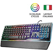 Trust GXT 860 Thura Tastiera Gaming Semi-meccanica LED, Piastra Superiore in Metallo, Nero [Italia]