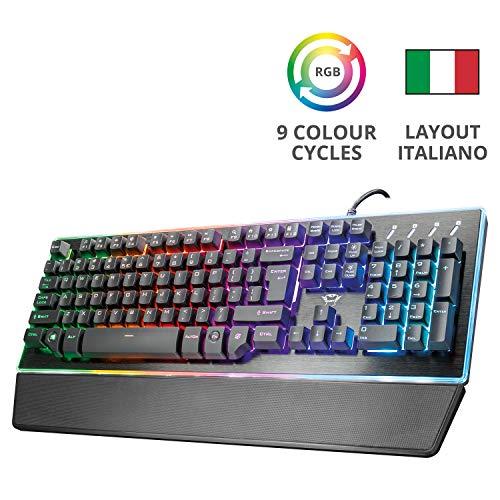 Foto Trust GXT 860 Thura Tastiera Gaming Semi-meccanica LED, Piastra Superiore in Metallo, Nero [Italia]