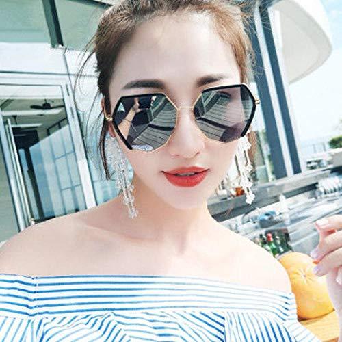 Korean weibliche Studenten runde Sonnenbrille Gesicht rund groß Gesicht dünne Art und Weise Sonnenbrille große Rahmen UV-Schutzbrille Street Beat 5036 goldgerahmten schwarz und grau Denim-Paket war,