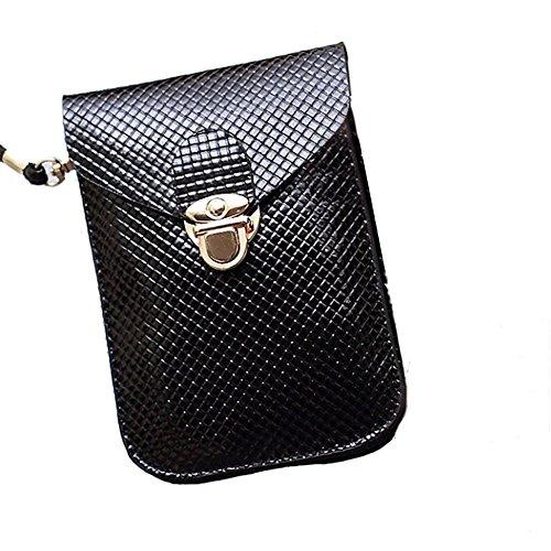 bourse de plaid - TOOGOO(R) Mode style de Preppy Femmes Mini sac sac de telephone portable en cuir PU Plaid Sac de messager Sac a bandouliere femmes bourse noire