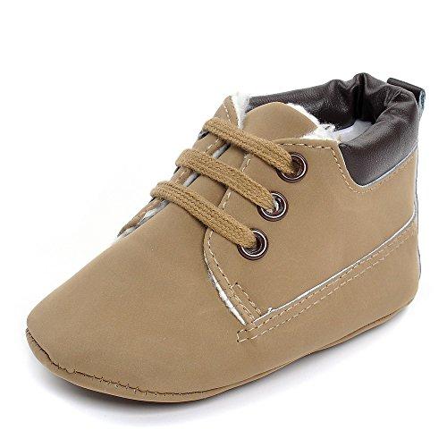 Estamico Baby Jungen High-top Winterstiefel PU Sneaker Khaki Größe 6-12 Monate (6 High-top Sneakers Größe Mädchen)
