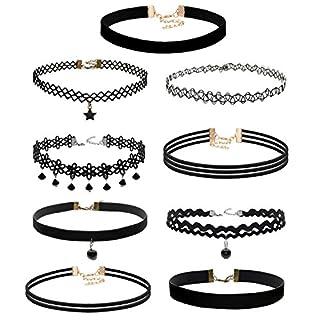 Aroncent 9 Stück Damen Choker Halskette Hoker Velvet Kette Tattoo Halsband Spitze Schwarz Halsreif Tattoo Punk Gothic Halskette für Frauen Mädchen Damen