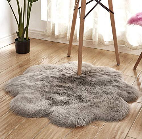 Faux Pelzteppich Weicher, flauschiger Teppich (60 x 60 cm) Shaggy Teppiche Faux Schaffell Teppiche Bodenteppich für Schlafzimmer Wohnzimmer Kinderzimmer Dekor Blume Form Teppich (Grau, 60x60 CM) -