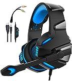 WINTORY V30 Gaming-Headset, Mikrofon, Geräuschunterdrückung, Over-Ear-LED-Licht, Bass-Stereo-Sound, kompatibel mit Xbox One PS4 PC Laptop Tablet