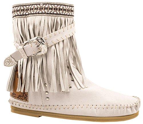 3c2f1925f48c6f Elara Fransen Stiefeletten Damen Indianer Style Western Schnalle Hidden  Wedge Beige