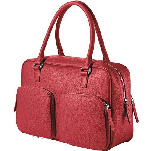 CHI CHI FAN City Bag - Rot | Damen Echt-Leder Handtasche aus genarbtem Rindsleder von Hamburger Designer-Label | Top Qualität, Design und maximale Funktion | Für Business und Freizeit
