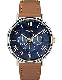 Timex Southview TW2R29100 - Reloj de cuarzo con correa de cuero unisex, color marrón y azul