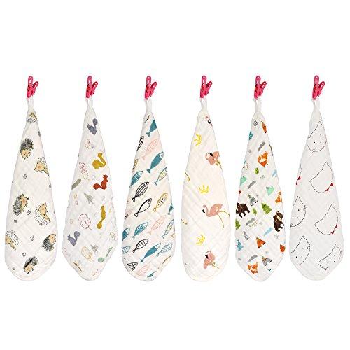 Finalhome saugfähig Musselin Baumwolle Baby Gesicht Handtuch, 6 Pack 30 x 30 cm wiederverwendbar Tücher Bad Waschlappen mit Haken für empfindliche Haut - Trocken-milch-bad