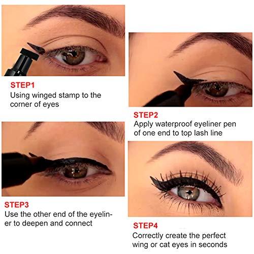 EyelinerWaterproof, Eyeliner, EyelinerStamp, EyelinerPenna - Effetti nero, impermeabile, antimacchia, ala per occhi di gatto, timbro per eyeliner liquido a lunga durata alato - per trucco di occhi di gatto o di ala - 2 penne in una confezione