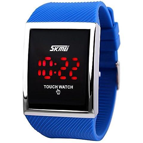 Herren Damen Touch Screen 30M Wasserdicht digital LED Sport Armbanduhr blau