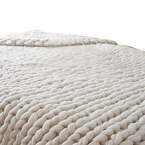 OverDose Hand Chunky Strickdecke Decke Garn Merino Wolle Bulky Knitting Throw Blanket Decke (80x100cm, A)