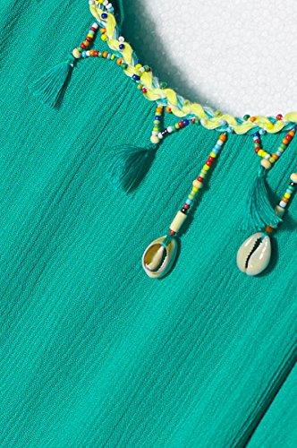 ROBE FEMME ÉTÉ A BRETELLES FINES ET COL DECORÉ PERLES ET COQUILLAGES CARIOCA - SANS MANCHES - JH4713 - Disponible en 3 couleurs: blanc jaune vert Vert