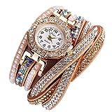 Ouneed® Uhren, Damen Luxus Marken Designer Damen Uhr Frauen-Perlen-Skala Armband Quarz Armbanduhr Kristall Diamant Uhr Frauen Kleid Uhr (Gold)