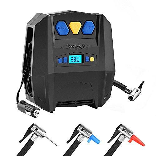 Compresseur Portatif, BASEIN gonfleur de pneu numérique portable avec lumière LED et jauge 12V pompe à air électrique pour les pneus de voiture, vélos, boules, jouets de piscine, ballons