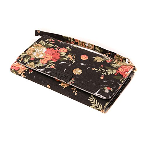 Conze Fashion Cell Phone Carrying piccola croce borsa con tracolla per Lenovo S939/S856/S860 Black + Flower Black + Flower