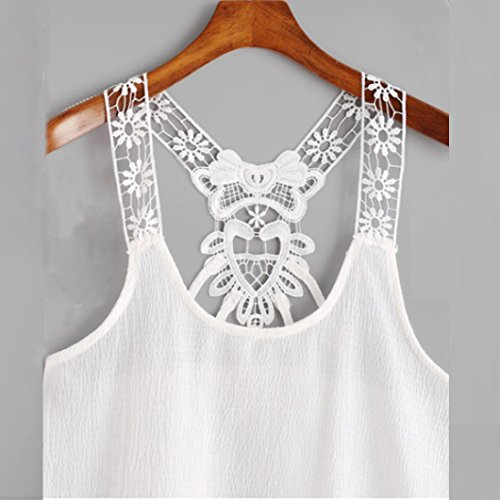 Tonwalk Veste en dentelle féminine Casual Tank Blouse Summer T-Shirt Blanc
