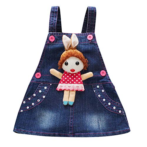 Amphia Mädchenkleid,Kinder Baby Mädchen ärmellose Cartoon Print insgesamt Denim Kleid Kleidung -
