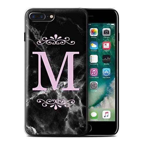 Personalisiert Schwarz Marmor Mode Hülle für Apple iPhone 4/4S / Gerahmt Weiß Single Design / Initiale/Name/Text Schutzhülle/Case/Etui Gerahmt Rosa Single