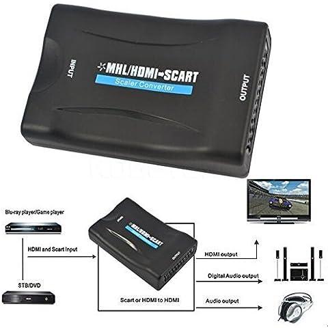 HDMI a Scart Vídeo convertidor WER señal AV adaptador HD Conversor de HDMI MHL a Euroconector