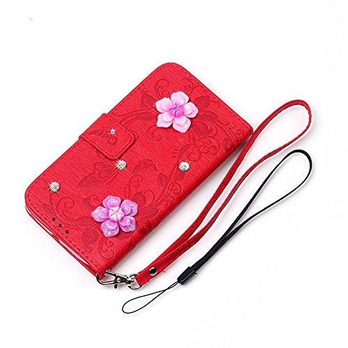 """iPhone 7 Coque Élégant Filles Cuir Portefeuille Etui Rabat Style 3D Rose Fleur Papillon Embossage Serie Case pour Apple iPhone 7 4.7"""" Rouge"""