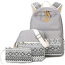 Donykarry 3 Teiliges Schultaschen-Set Canvas Schulrucksack + Umhängetasche + Mäppchen für Mädchen Damen Jugendliche