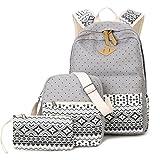 Donykarry 3 Teiliges Schultaschen-Set Canvas Schulrucksack + Umhängetasche + Mäppchen für Mädchen Damen Jugendliche (Grau)