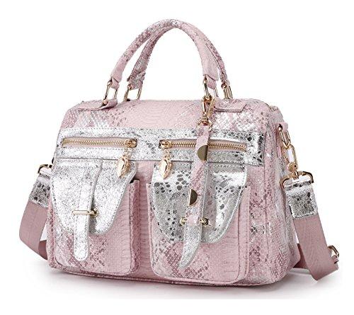 Schultertasche Damen Schlange Handtasche Kunstleder Umhängetasche Casual Henkeltasche Tasche für Frauen Rosa Pink (Original-designer-taschen)