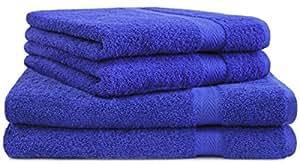 4 tlg. Handtuch Set Frottee Premium Farbe Royal Blau 100% Baumwolle 2 Duschtücher 70 x 140 cm 2 Handtücher 50 x 100 cm