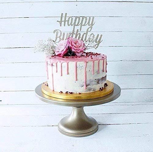 Happy Birthday Silver Glitter Card Cake Topper