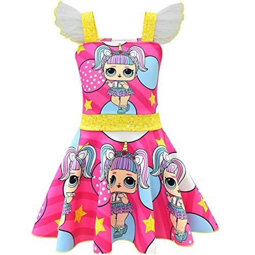 QYS Mädchen Kinder LOL Puppe Überraschung Prinzessin Kostüm Halloween Cosplay Kostüme Tanz Ballerina Party Outfit,Rosered,140cm (Tanz Kostüm Größentabelle)