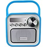 Sunstech RPBT420BL - Radio portátil (digital FM, altavoz, Bluetooth, micrófono, FM, USB, SD, Aux-In, 2.5 W RMS) con diseño retro, color azul