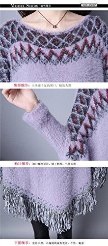 Femme Womens Retro Impression à manches longues en vrac irrégulière Tassel Knit Cape Sweater Gris