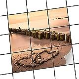 creatisto Fliesensticker Dekoraufkleber | Fliesen-Aufkleber Folie Sticker selbstklebend Küche renovieren Bad Deko Küche | 15x15 cm Design Motiv Beach Romance - 9 Stück