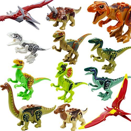 Jurassic World, ShineMore Juguetes de figuras de dinosaurios, Playset de dinosaurios de plástico, STEM Figuras de dinosaurios realistas de educación para niños pequeños, incluyendo Stegosaurus, Triceratops, Paquete de 12