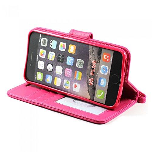iPhone 6Plus (5.5) Housse Coque Étui portefeuille à rabat en cuir PU Portefeuille en cuir avec compartiments pour cartes d'identité Compartiment pour carte et film de protection d'écran + Stylet Rose